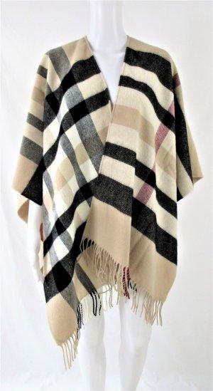Orig. FRASS Cape/Poncho/Ruana / 100% Polyacrylic/ Check print /Beige-Rot-Schwarz/One Size/ WIE NEU!