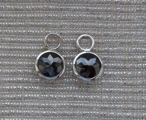 Dangle silver-colored-black real silver