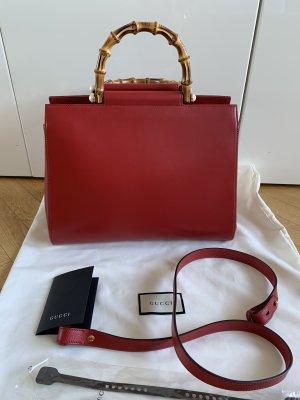 Orig GUCCI Handtasche Tasche Nymphaea rot Leder Bamboo Henkel Bambus NEU 1980€