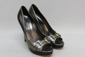 orig. GUCCI High Heels Peep Toes Pumps Gr. 37,5 metallic Plateau