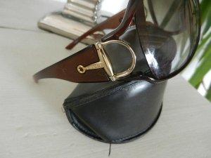 orig. GUCCI Italy Sonnenbrille Horsebit Trense Gold Logo Braun