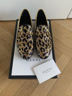 Orig GUCCI Loafer Jordaan Slipper Horsebit Neu 36 (36,5) Jacquard Box Schuhe Leopard