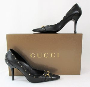 Orig. Gucci Pumps/Kalbsleder/Nieten-GG Logo/schwar-gold/HERVORRAGEND!
