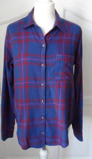 orig. Hollister Flanell Bluse Gr. M Blau Rot wenig getragen