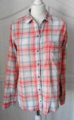 orig. Hollister Flanell Bluse Gr. M Weiß Orange Hellblau wenig getragen