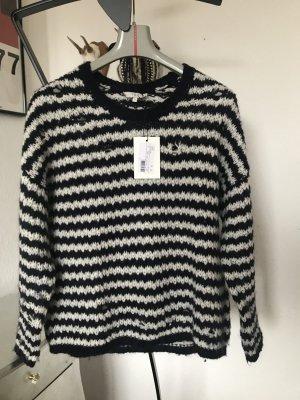 Orig IRO oversize Pullover gestreift blau weiß wNeu 229€ Gr. M Strickpullover destroyed