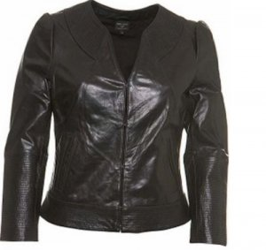 Topshop Giacca in pelle nero Pelle
