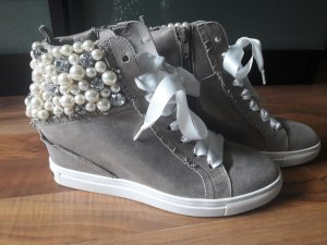 Orig Kennel & Schmenger 37,5 4 Hightop Sneaker Wedges Strass Perlen Fransen NEU