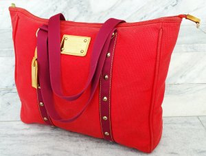 "ORIG. LOUIS VUITTON ""ANTIGUA GM"" LEINEN ROT LIMITIERT GROSS"