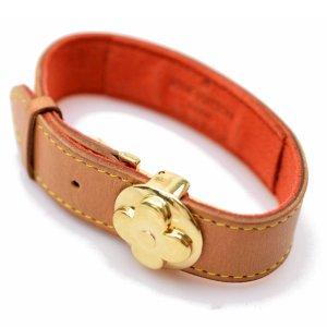 ORIG LOUIS VUITTON GOOD LUCK LOGO ARMBAND LEDER SPANGENVERSCHLUSS Bracelet / GUTER ZUSTAND