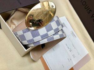 Louis Vuitton Cintura di pelle bianco-argento Pelle