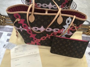 Orig. Louis Vuitton Neverfull MM Monogram Chain Flower