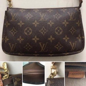 Louis Vuitton Pochette brun-brun sable cuir