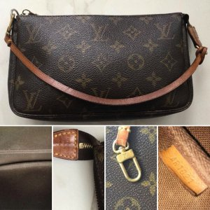 Louis Vuitton Clutch bruin-zandig bruin Leer