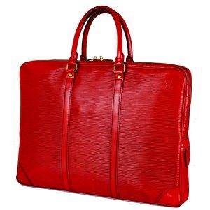 Louis Vuitton Maletín rojo neón Cuero