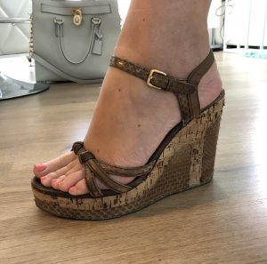 Louis Vuitton Wedge Sandals brown leather