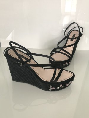 Orig. Louis Vuitton Wedges Sandalen Gr. 37 schwarz