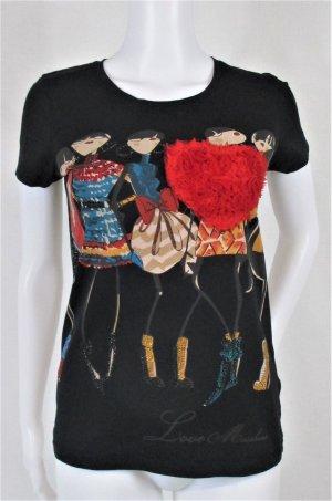 Orig. Love Moschino T-Shirt / bedruckt / schwarz/Applikationen / Tull / Straßsteine/Gr.36/S/wie NEU!
