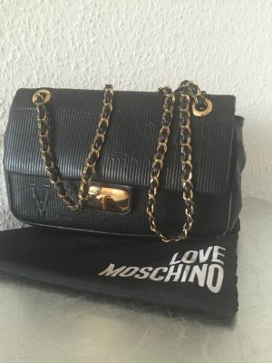 orig love moschino tasche schwarz gesteppt chanel stil schwarz gold clutch kette. Black Bedroom Furniture Sets. Home Design Ideas
