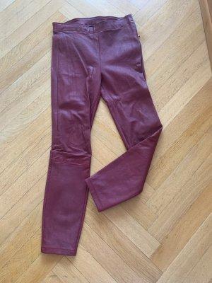 Orig MASSIMO DUTTI Lederhose Hose Leder rot Leggings Neu 299€ S 36 slim fit Bordeaux