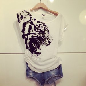 Orig Miss Sixty Oversized One Shoulder Shirt XS Blogger Style Tiger Animal