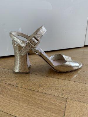 Miu Miu Sandalo con cinturino oro Pelle