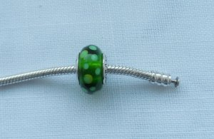 Pandora Dije color plata-verde plata verdadero