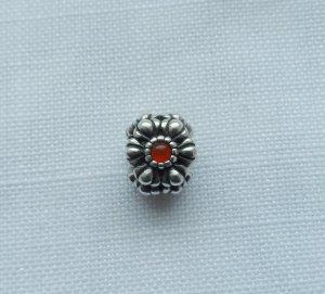 orig. PANDORA Element Blume 790580CAR 925 Silber Karneol wenig getragen