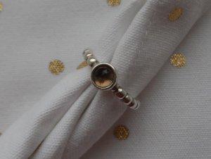 orig. PANDORA Ring 190244SQ-56, 925 Silber und Rauchquarz wenig getragen