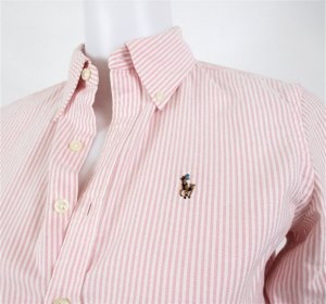Orig. Polo Ralph Lauren Slim-Fit Oxfordhemd / Hellrosa / gestreift/100%Baumwolle/Gr.XS-34, US 2/Hervorragend!