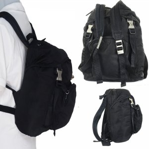 Prada Sac à dos pour ordinateur portable noir nylon