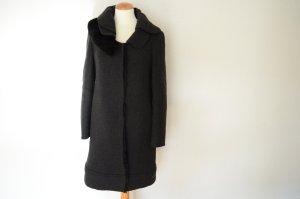 Prada Manteau en laine gris anthracite laine