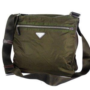 ORIG. PRADA MESSENGER BAG L NYLON DKL.-BRAUN / GUTER ZUSTAND