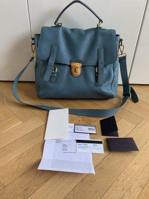 Orig PRADA Messenger Bag Satchel Pattina blau gold 1980€ Rechnung Crossbody Tasche Tote