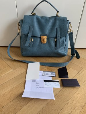 Orig PRADA Messenger Bag Satchel Pattina blau gold 1980€ Rechnung Crossbody Tasche Tote