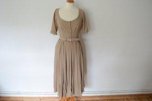 Prada Midi-jurk beige Gemengd weefsel