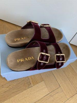 Orig PRADA Sandalen Schlappen Samt Bordeaux NEU 36,5 37 Pantoletten