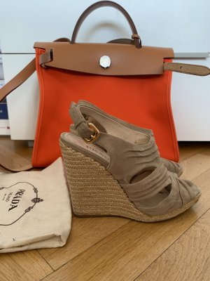 Prada Wedge Sandals camel suede