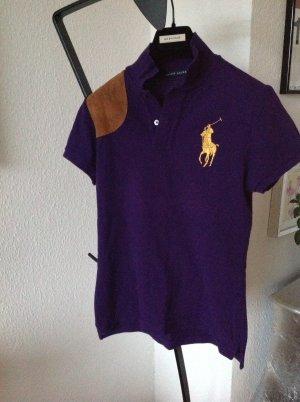 Orig RALPH LAUREN Black Label Polo Shirt Leder Reiter lila M 249€ Polohemd