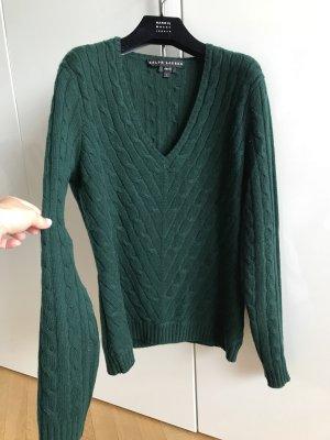 Orig RALPH LAUREN BLACK LABEL Pullover Cashmere grün M L wNeu Polo Zopfmuster Slim fit