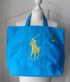 orig. Ralph Lauren Canvas Shopper Tasche Blau Gelb Grün NEU