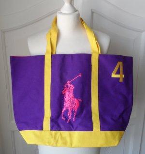 orig. Ralph Lauren Canvas Shopper Tasche Lila Gelb Pink NEU