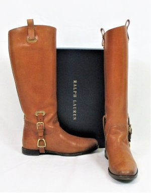 Orig. Ralph Lauren Collection Kalbslederstiefel/Cognac/Sandbraun/Antikfinish/Gr. 36.5/Hervorragend!