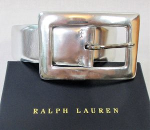 Ralph Lauren Leather Belt silver-colored leather