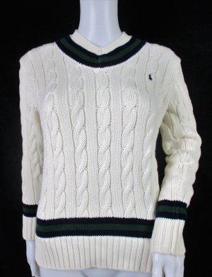 Orig.Ralph Lauren Cricketpullover im College-Stil/Wolleiss/100% Baumwolle/Gr. S/NEU!