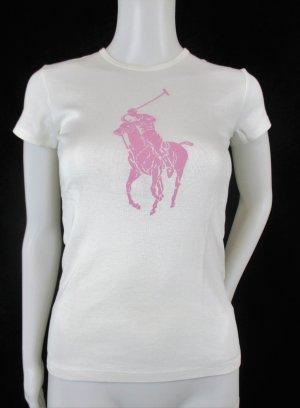 "Orig.Ralph Lauren T-Shirt"" Pink Pony Black Collection"" /weiss-pink/100% merzerisierte BW/Gr.S /NEU!"