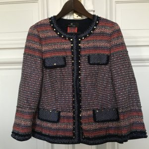 Orig. Rena Lange Boucle Jacke Blazer Jackett im Chanel Style Nieten gold