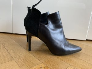 Orig SANDRO PARIS Stiefeletten Ankle Boots High Heels 37 Leder schwarz neu