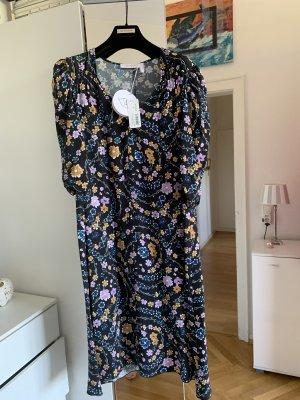 Orig SEE BY CHLOE Kleid schwarz Puffärmel floral Midi neu 309€ 36/38