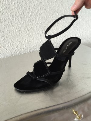 Orig. Serigio Rossi miu Samt  Sandalen schwarz NEU 38,5 Pumps High Heels 480€